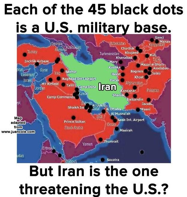 Map of Iran surrounded by US bases